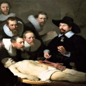 УРОК АНАТОМИИ ДОКТОРА ТЮЛЬПА, Х-К РЕМБРАНДТ ВАН РЕЙН, (1632 ГОД)
